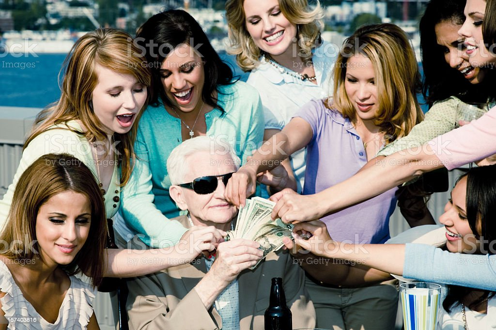 Crowd of Young Woman and Senior Playboy royalty-free stock photo