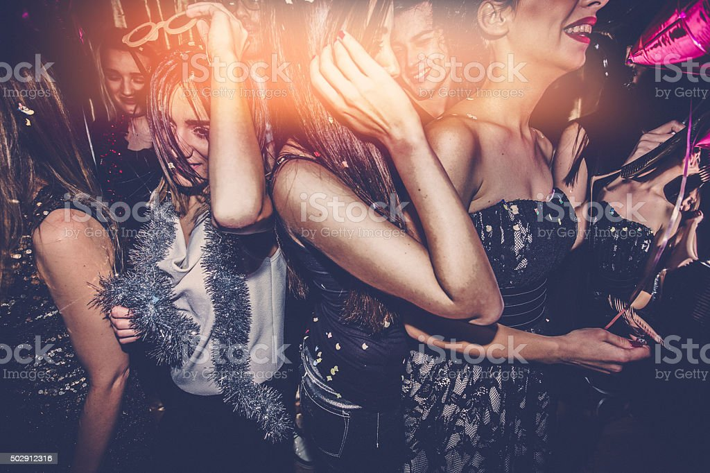 Crowd on a dance floor stock photo