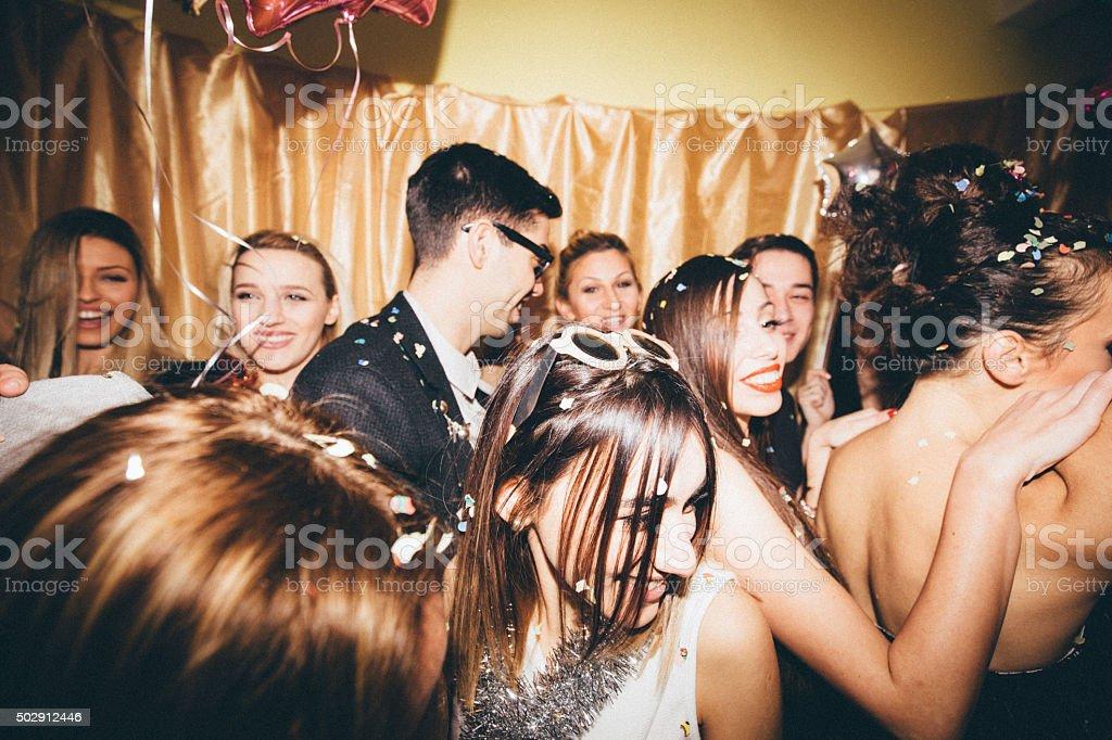 Crowd on a dance floor stock photo