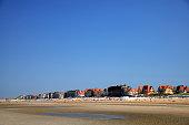 Crowd on beach in De Haan Belgium at North Sea