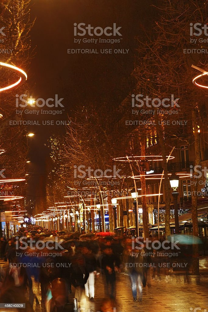 Crowd on Champs Elysees royalty-free stock photo