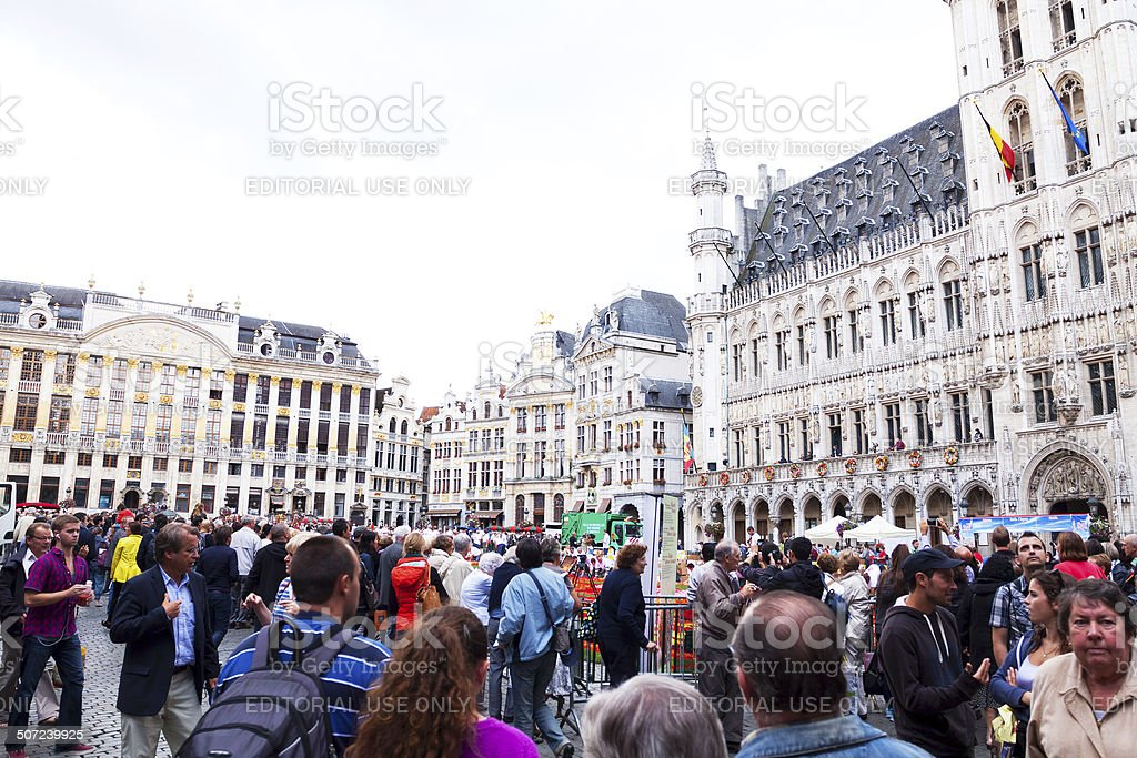 Crowd on Grand Place stock photo