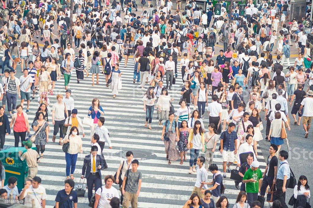 Crowd on Shibuya crossing stock photo