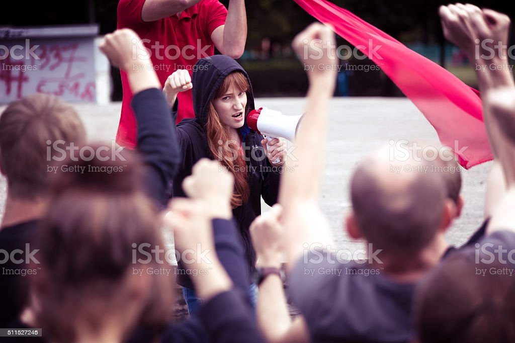 Crowd protesting against government stock photo