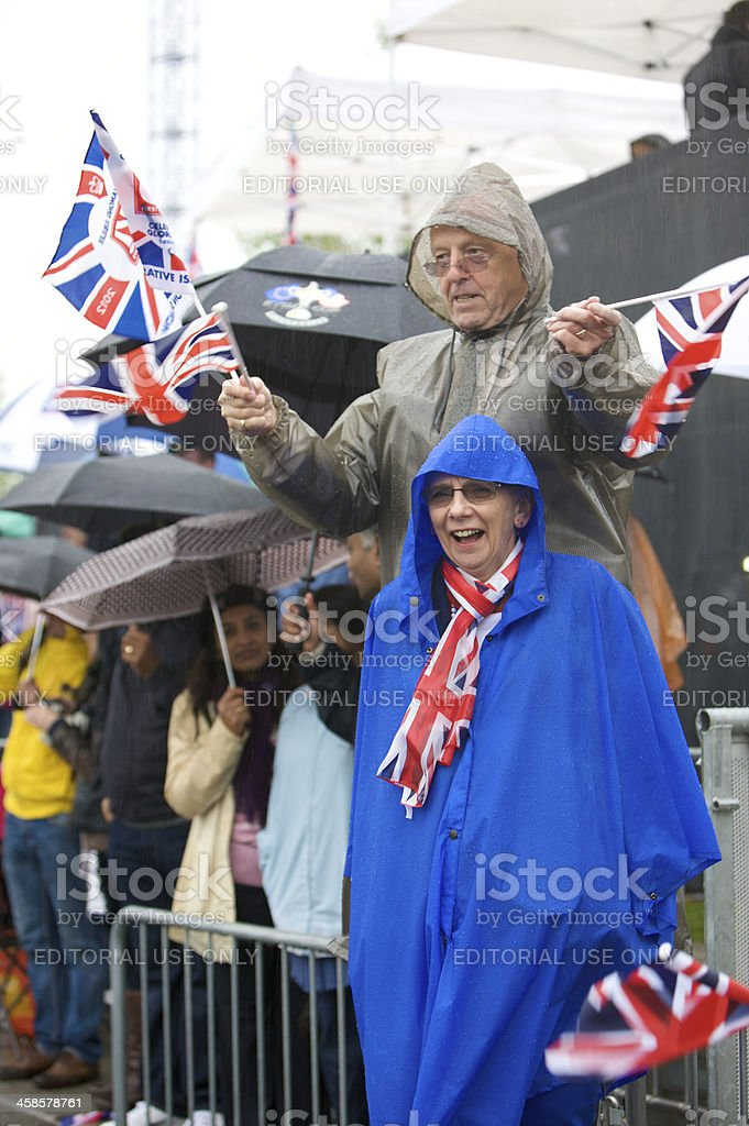 Crowd scene at the Queens diamond jubilee pageant royalty-free stock photo