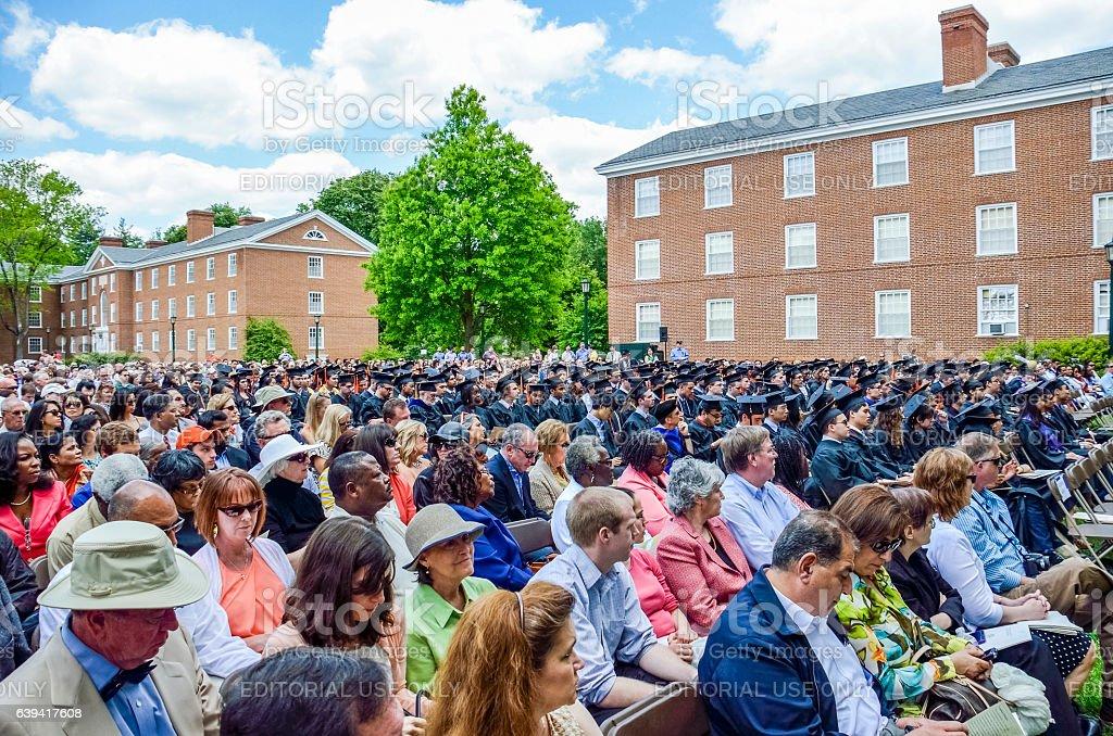 Crowd sitting at graduation ceremony at University of Virginia stock photo