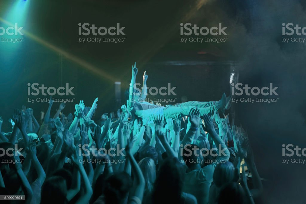 Crowd surfing! stock photo