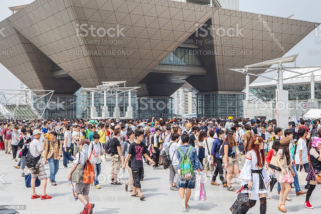 Crowd that gathered at the 86th Comic Market stock photo