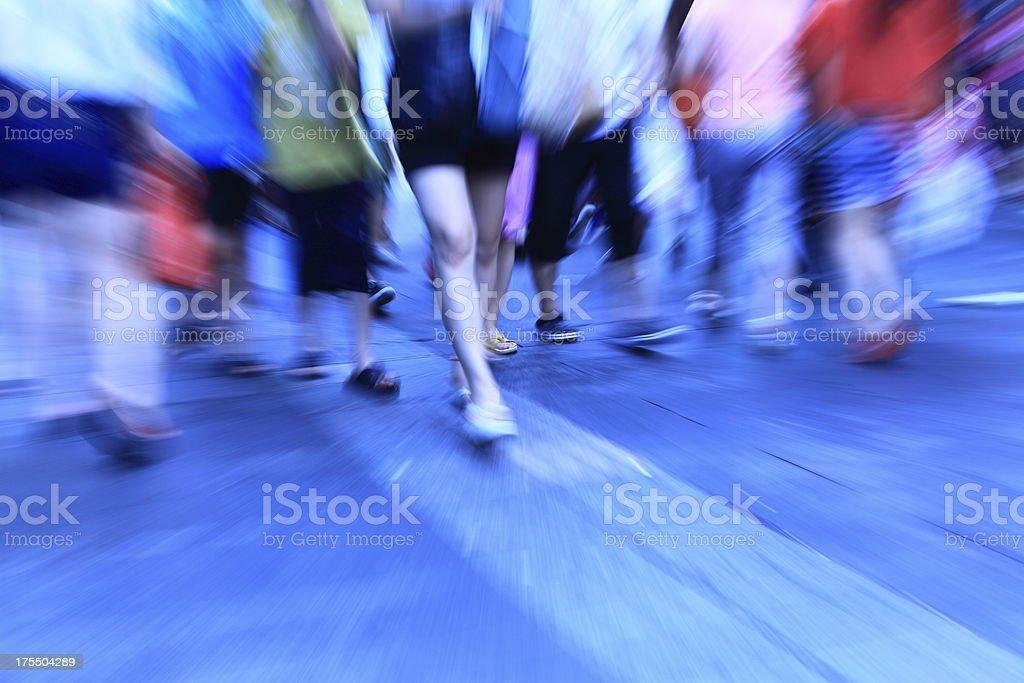 Crowd toward downtown at night royalty-free stock photo