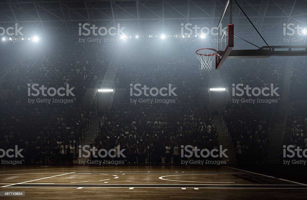 Crowd waiting for basketball teams to enter the arena stock photo