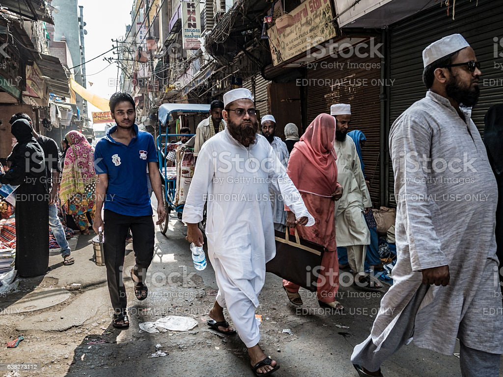 Crowd walking in the streets of Old Delhi stock photo