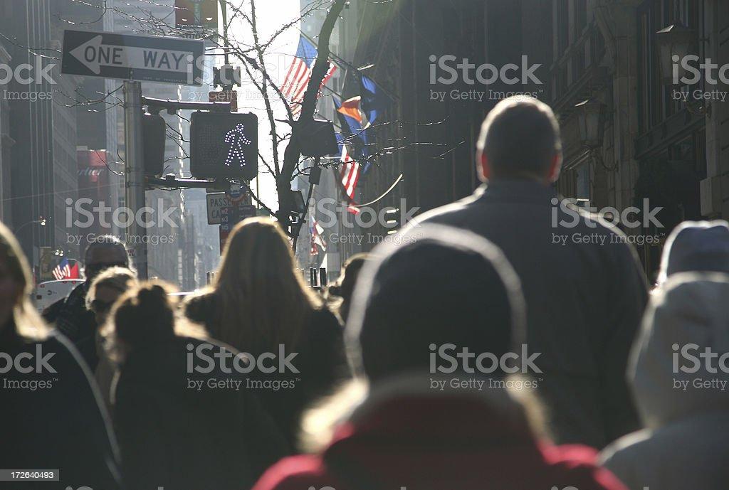 Crowd Walking On Fifth Avenue stock photo