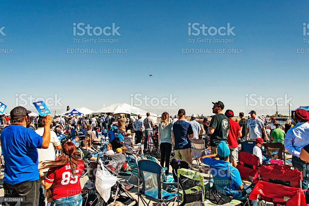 Crowd Watching Air Show at Mather California stock photo