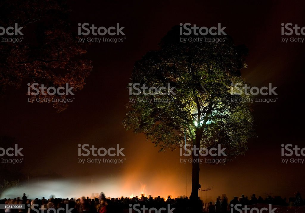Crowd Watching Illuminated Sky After Fireworks stock photo
