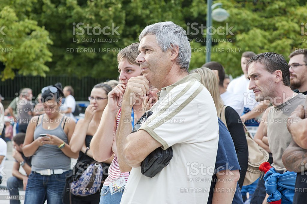 Crowd watching outdoor event stock photo