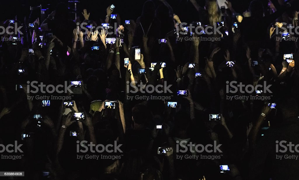 Crowd with smart phones stock photo