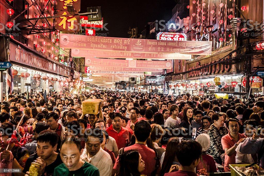 Crowd Yaowarat Road Chinatown Bangkok Thailand stock photo