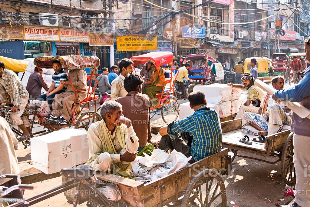 Crowded and busy streets of old Delhi stock photo