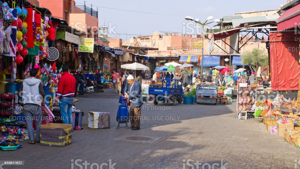 Crowded and colorful market stock photo