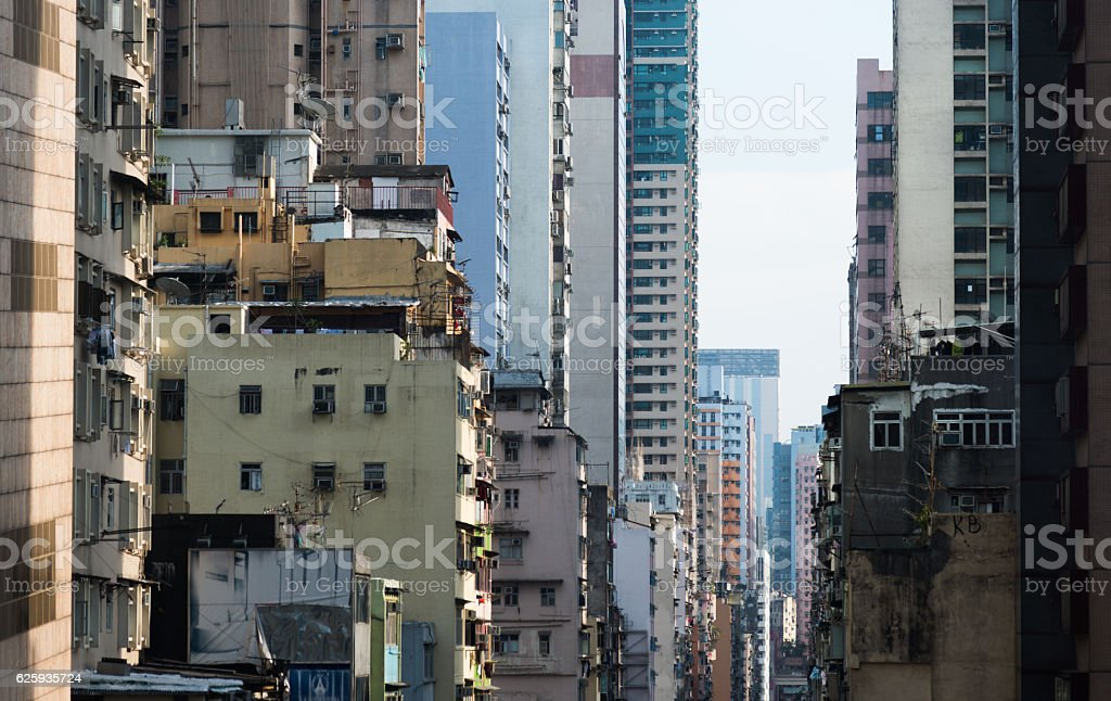 Crowded apartment building stock photo