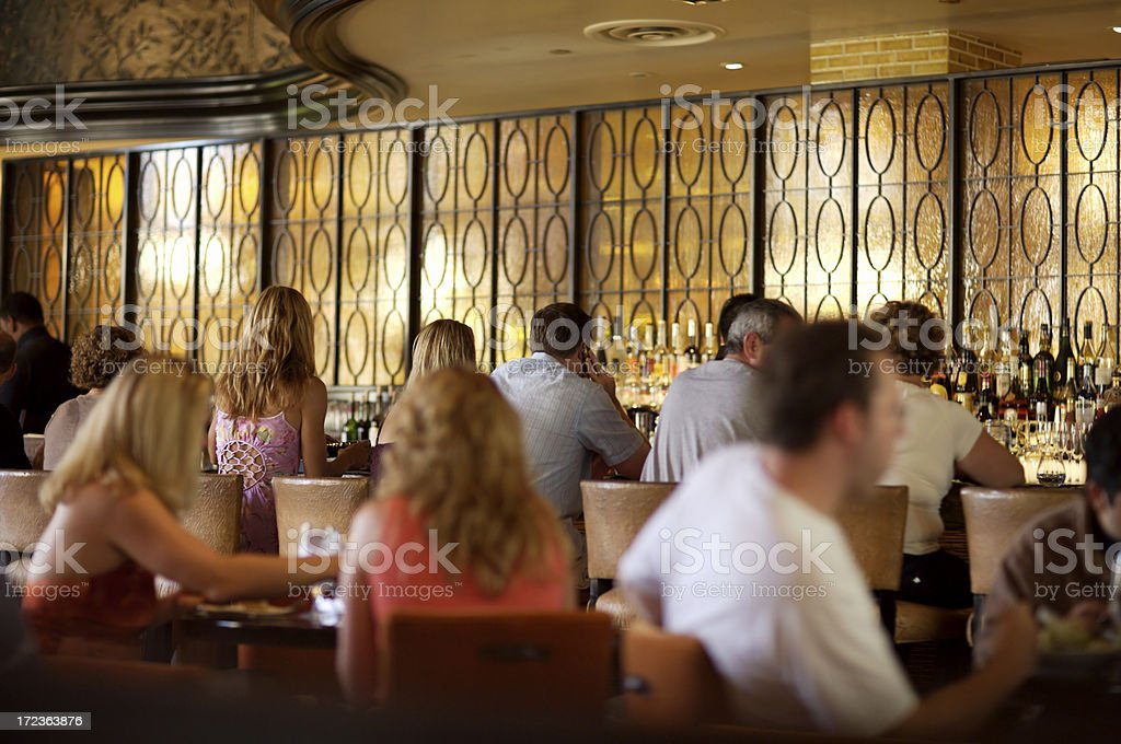 Crowded bar in fine restaurant stock photo