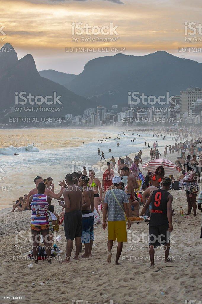 Crowded Beach Ipanema Rio de Janeiro Brazil stock photo