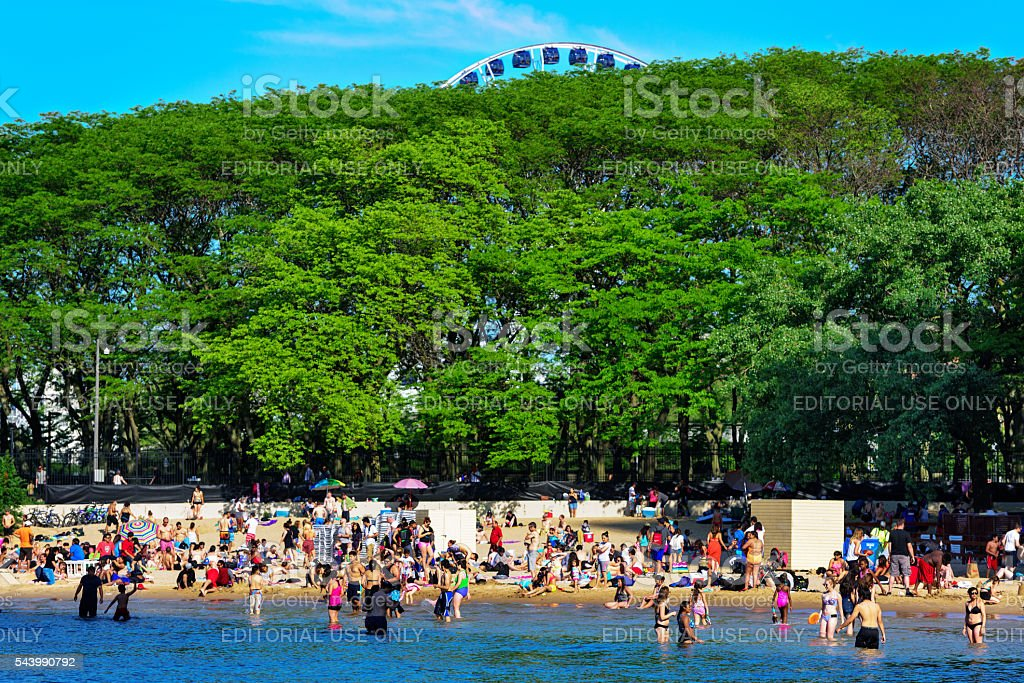 Crowded Beach on sunny day, Chicago stock photo