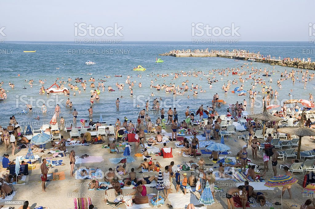 Crowded beach on the Black Sea royalty-free stock photo