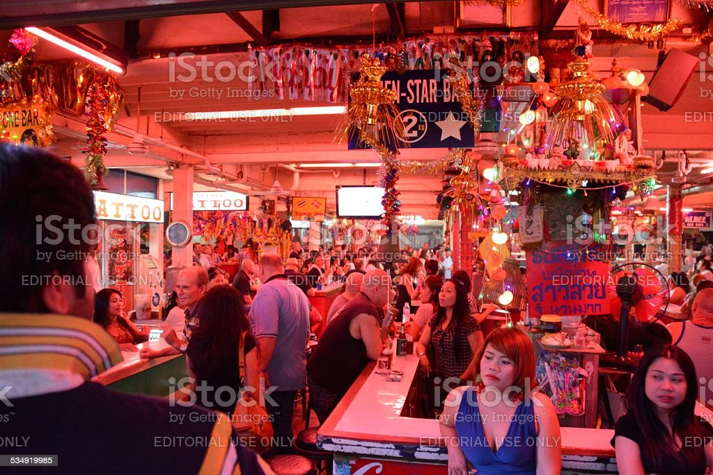 Crowded Beer bars in Pattaya - Thailand stock photo