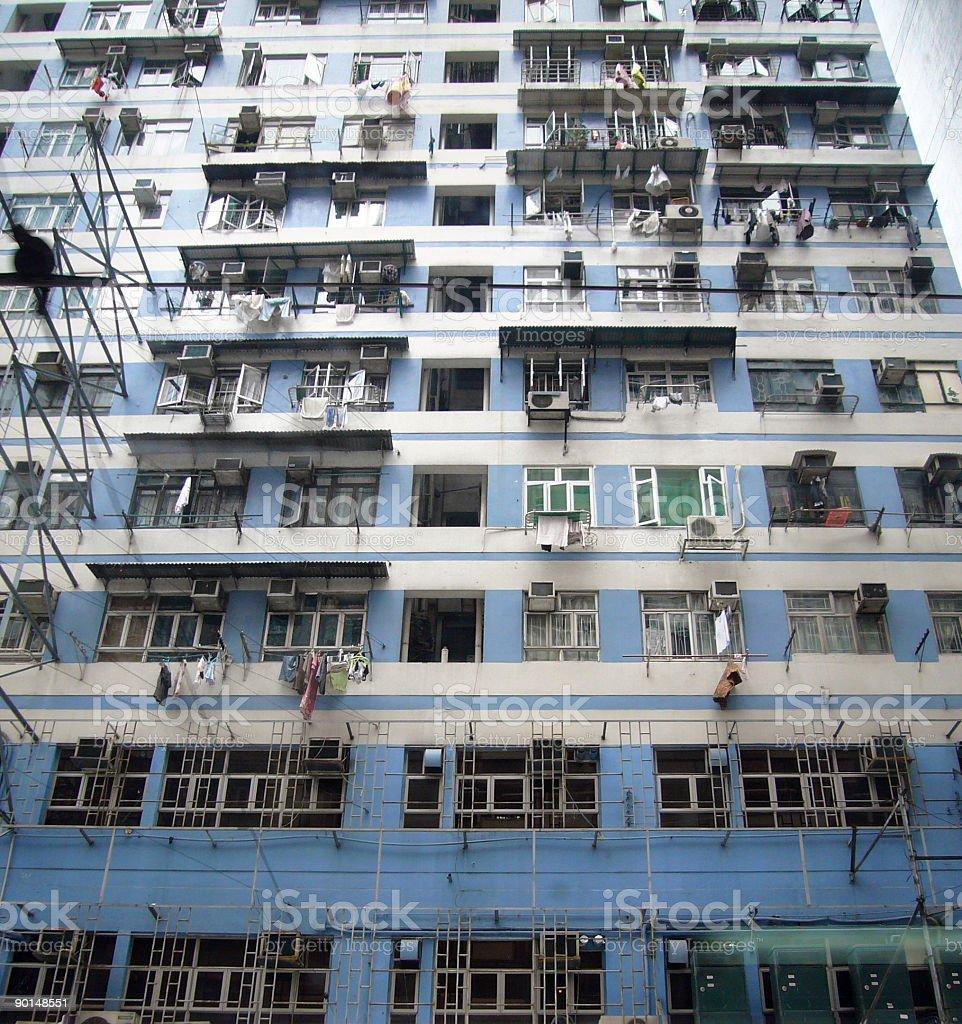 Crowded Blue Hong Kong Apartments royalty-free stock photo