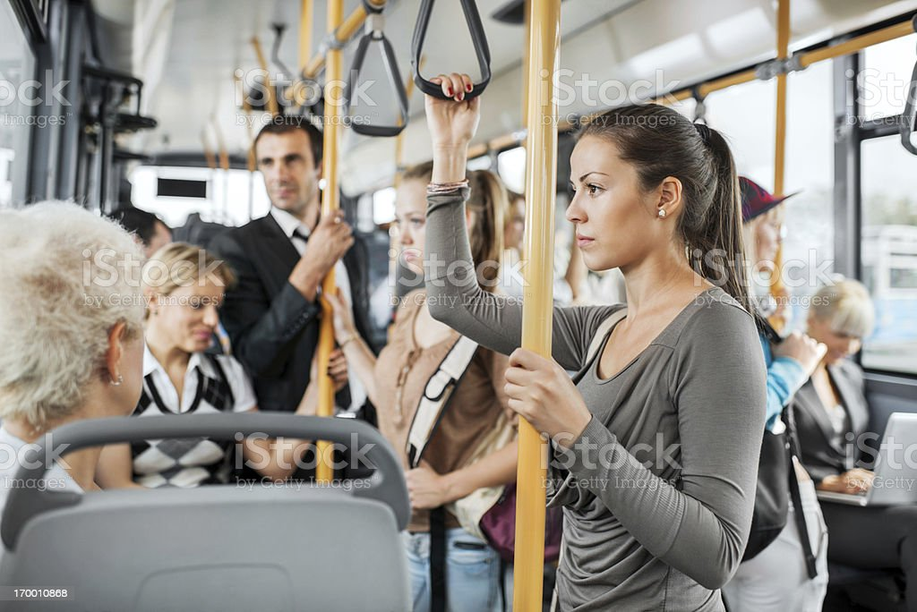 Crowded bus stock photo