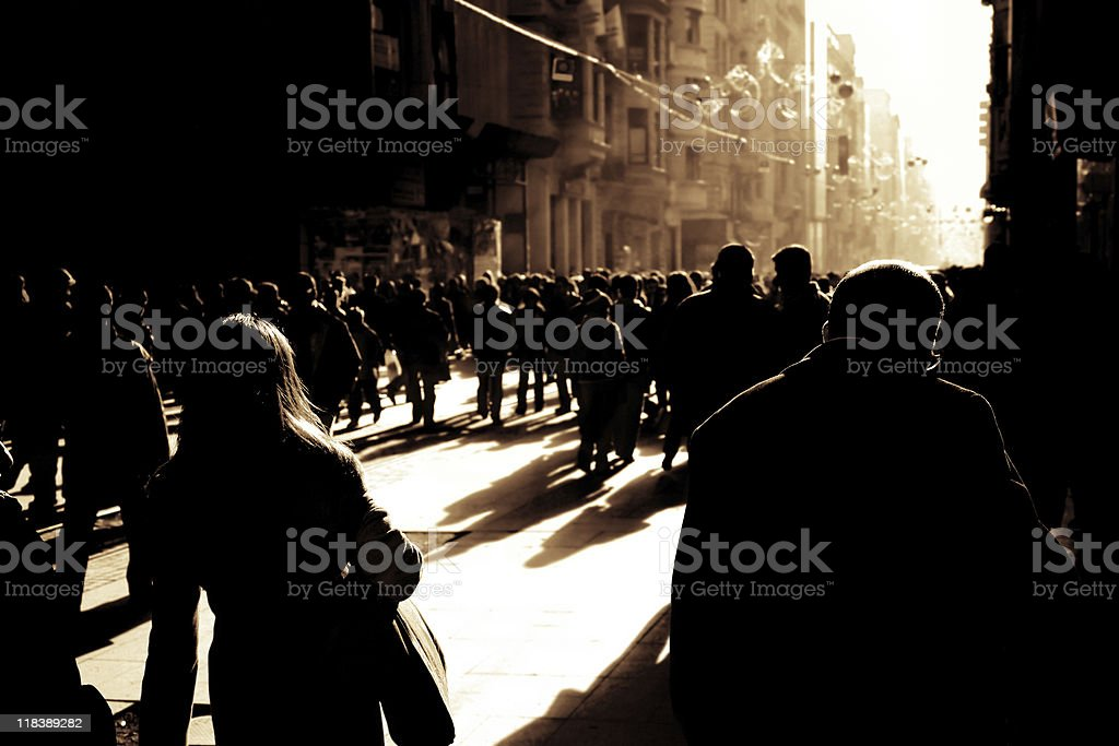 crowded busy street royalty-free stock photo