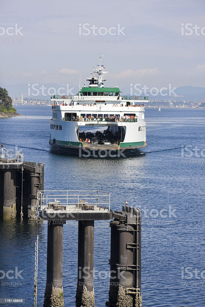 Crowded Car and Passenger Ferry Arriving royalty-free stock photo