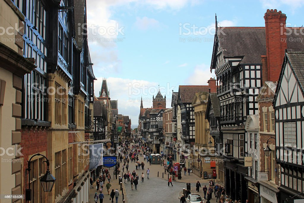 Crowded Chester City center attracting lots of visitors stock photo