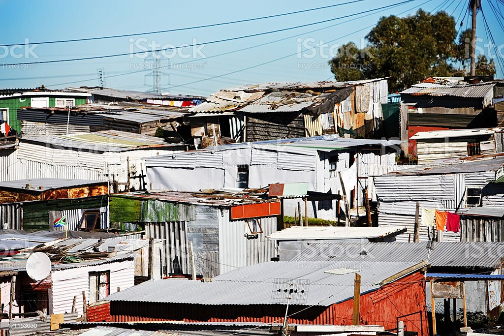 Crowded corrugated iron shacks at Khayelitsha, Cape Town stock photo