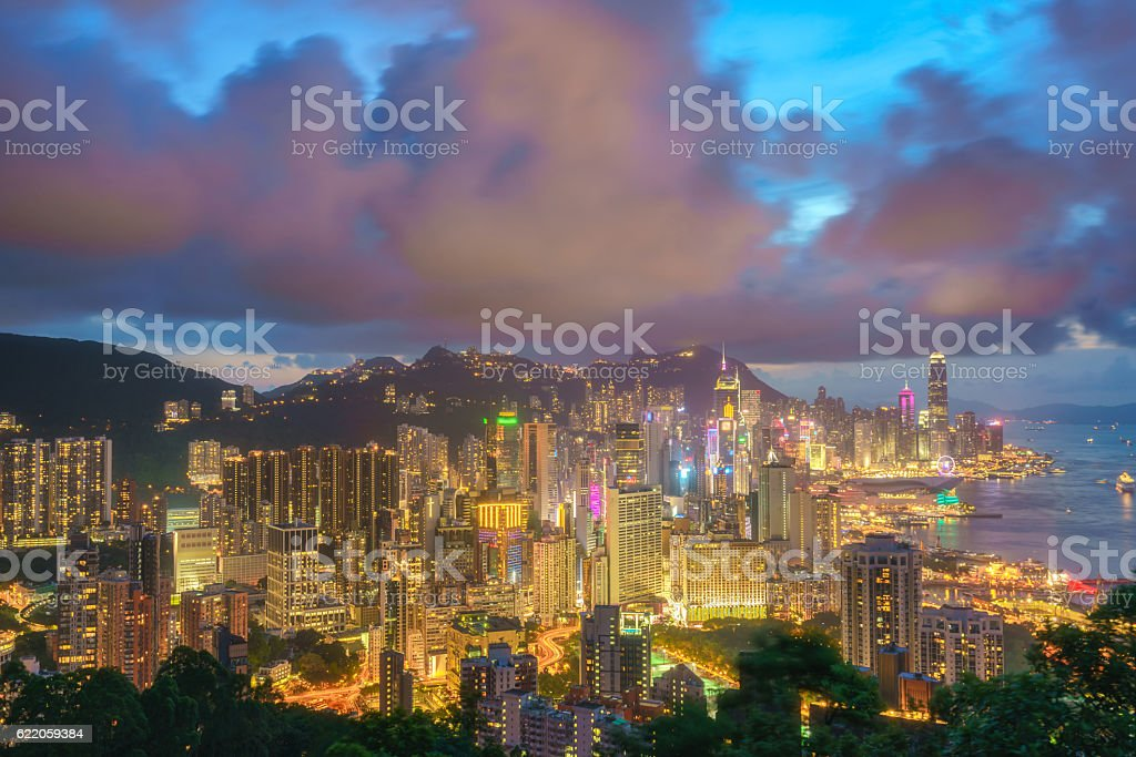 Crowded downtown and building in Hong Kong stock photo
