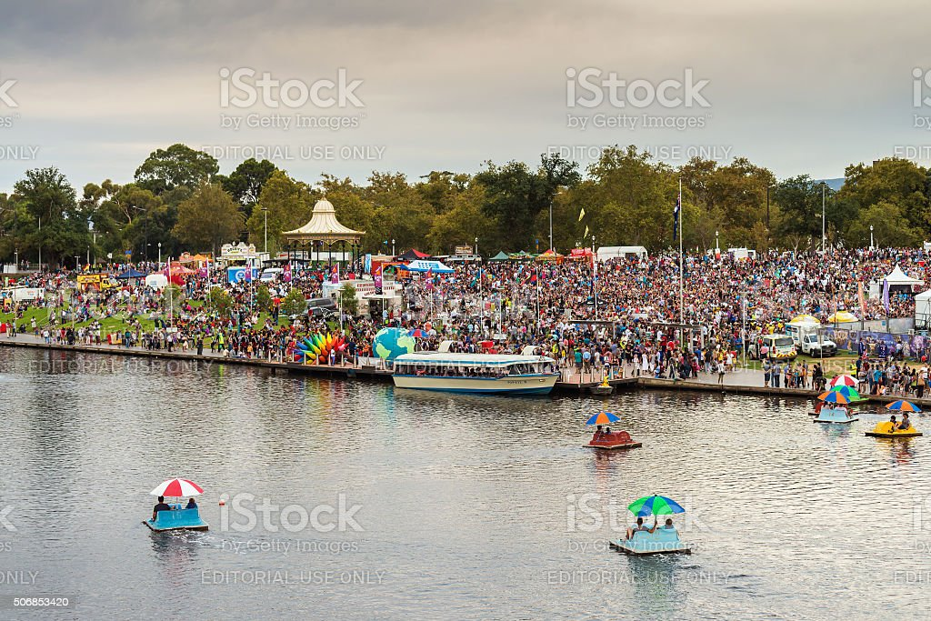 Crowded Elder Park in Adelaide stock photo