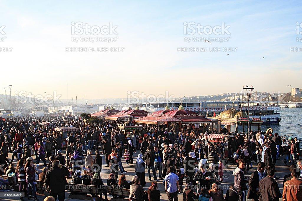 Crowded; Eminonu Square, Istanbul stock photo
