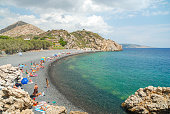 Crowded Emporios Mavros Gialos beach on Chios