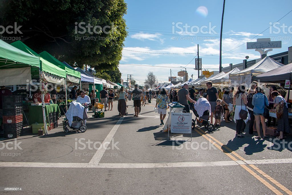 Crowded Farmers Market stock photo