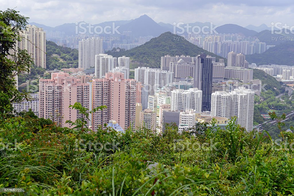 Crowded Hong Kong scene with tightly packed skyscrapers stock photo