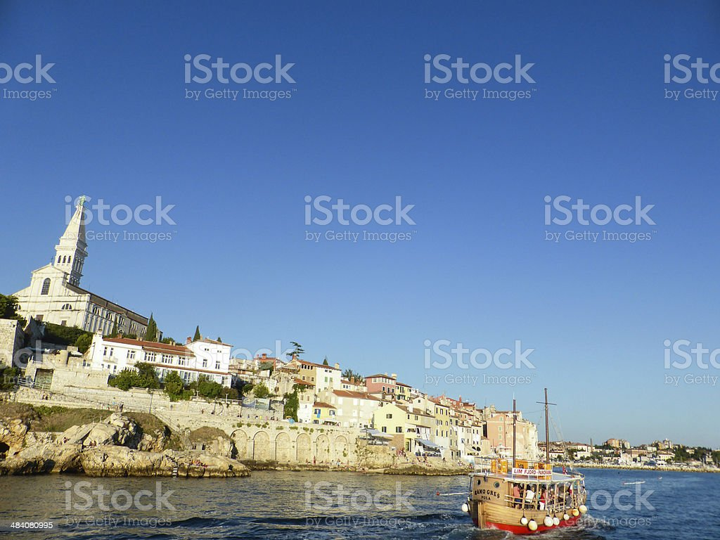 Crowded houses, cobbled streets in Rovinj stock photo