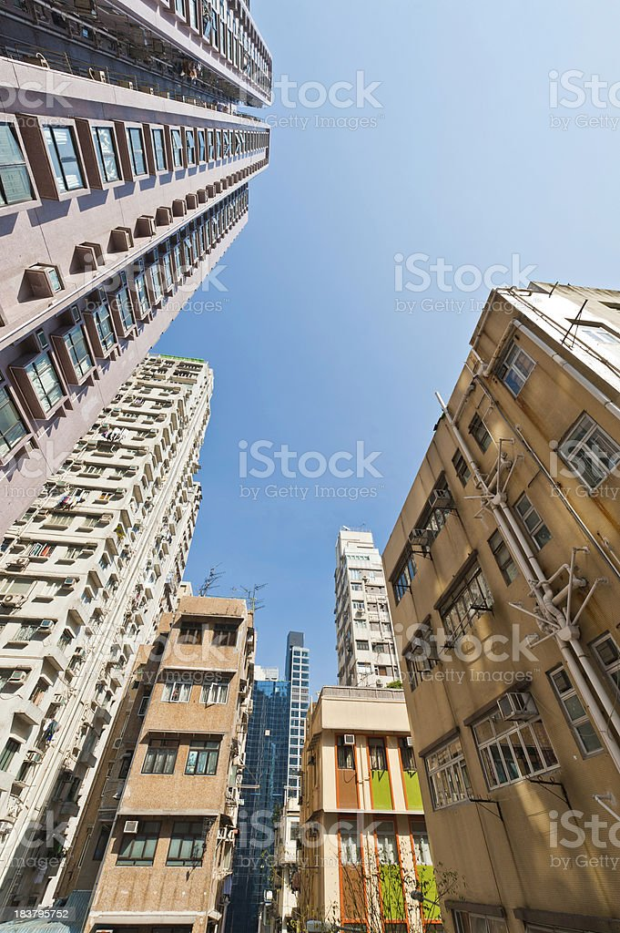 Crowded housing highrise apartment blocks stretching to sky China stock photo