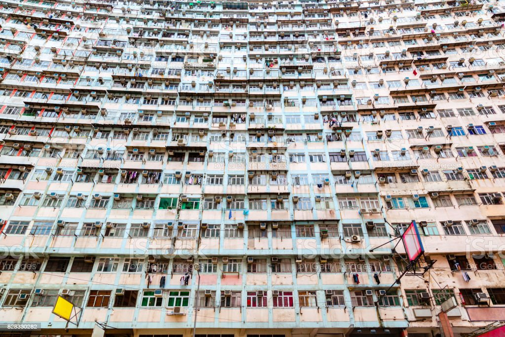 Crowded Housing in Hong Kong stock photo