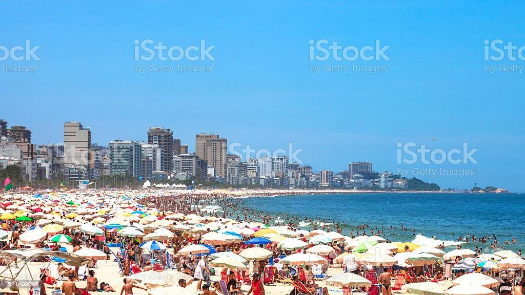 Crowded Ipanema beach. Rio de Janeiro, Brazil. stock photo