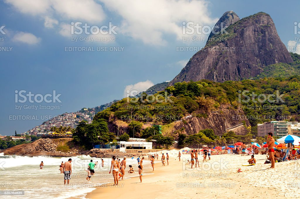 Crowded Ipanema beach Rio de Janeiro, Brazil stock photo