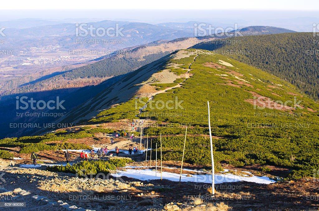 Crowded Karkonosze Mountains, Poland stock photo