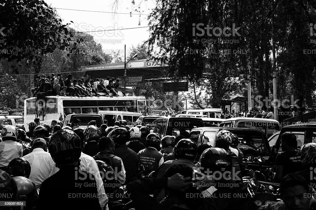Crowded Kathmandu petrol queue stock photo