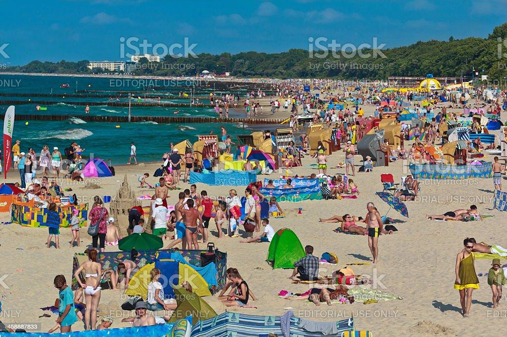 Crowded Kolobrzeg beach in summer royalty-free stock photo