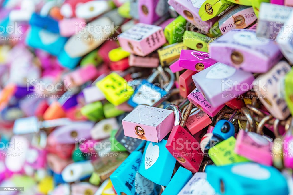 Crowded Love Padlocks Seoul Namsan Park South Korea stock photo
